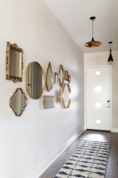 Entry way with antique mirrors