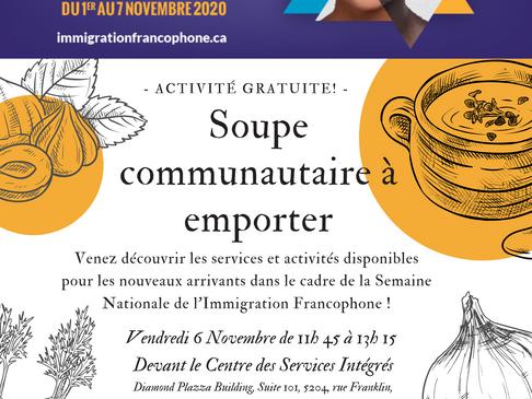 Soupe communautaire à emporter - Semaine nationale de l'immigration francophone