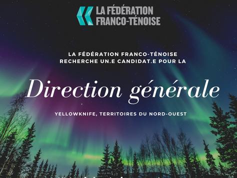 OFFRE D'EMPLOI: direction générale de la Fédération franco-ténoise