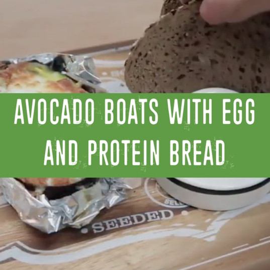 Avocado Boats with Egg and protein bread