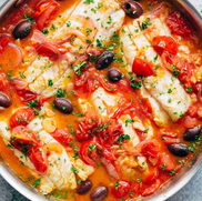 Pan Seared Fish with Tomatoes & Olives