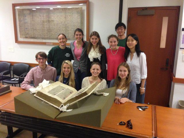 Hopkins Students Examine Beinecke Manuscripts