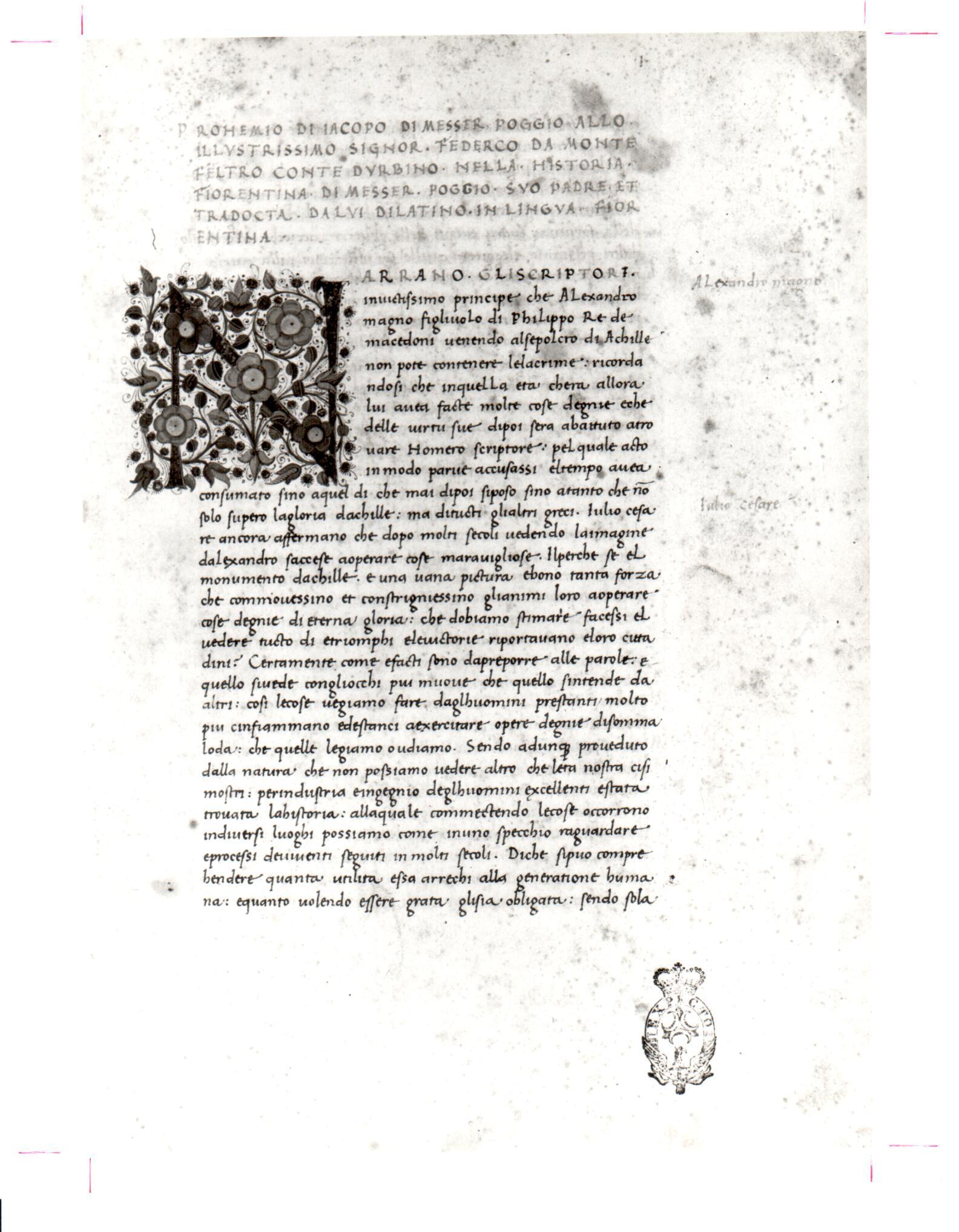 105. Beinecke MS 321, f. 1r.