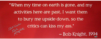 Bobby Knight Autographed Quote Poster Steiner Auth