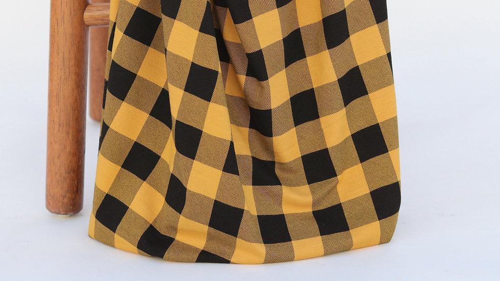 Bamboo Knit Check Mustard