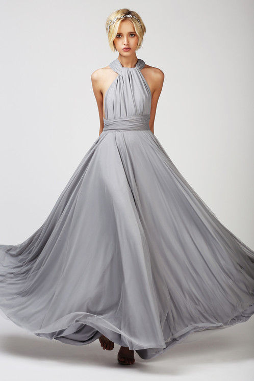 TWO BIRDS TULLE BALL GOWN DOVE GREY