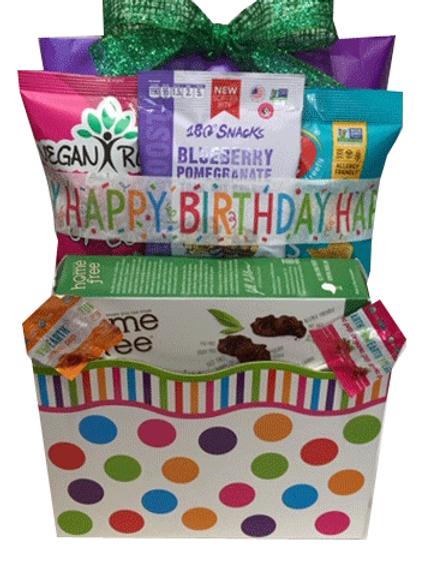Vegan gluten free birthday gift basket