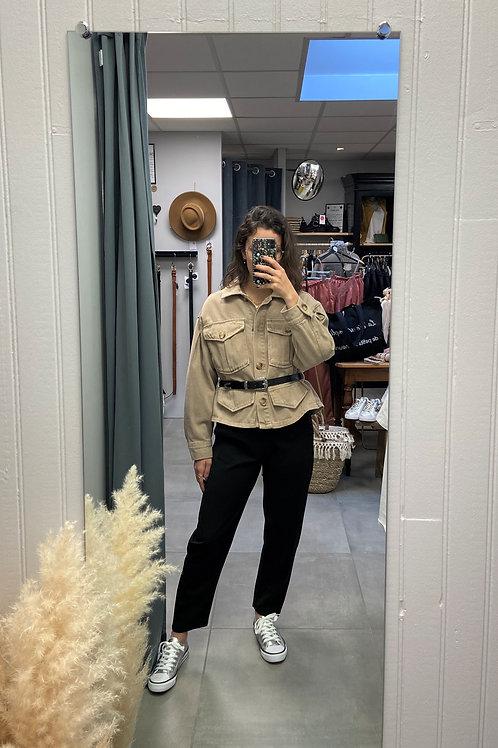 Veste en jean beige avec ceinture