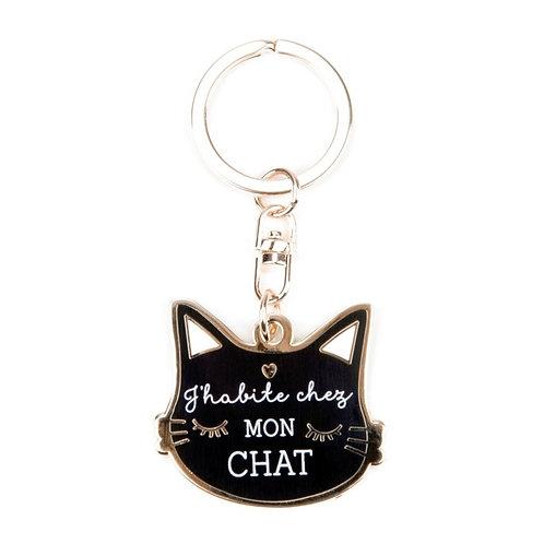 Porte-clés : J'habite chez mon chat