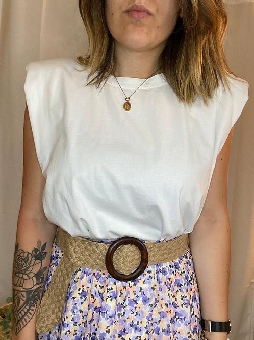 T-shirt Blanc épaulettes