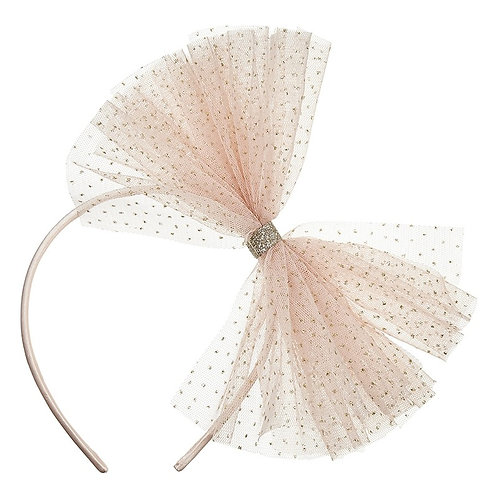 Serre-tête nœud en tulle rose -Alice