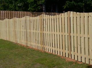 Shadowbox Scalloped Wood Fence
