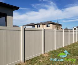 Tan Vinyl Privacy Fence-Pelican Fence LLC 9520