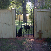 Solid Board Wood Custom Fence with Aluminum Gate