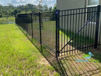 Black Aluminum Fence with Single Gate