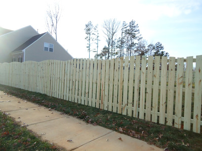 Arched Space Picket Wood Fence
