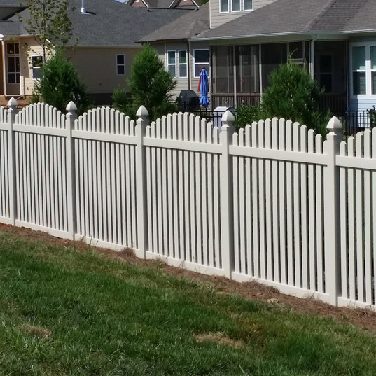 White Vinyl Arched Space Picket Fence