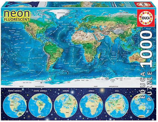 Mapamundi físico NEÓN