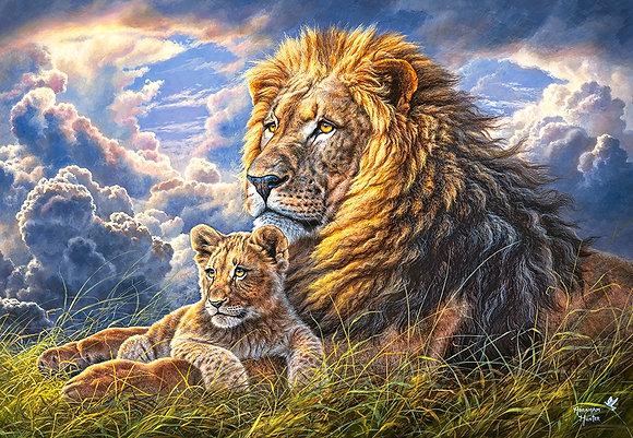 Leones, padre e hijo