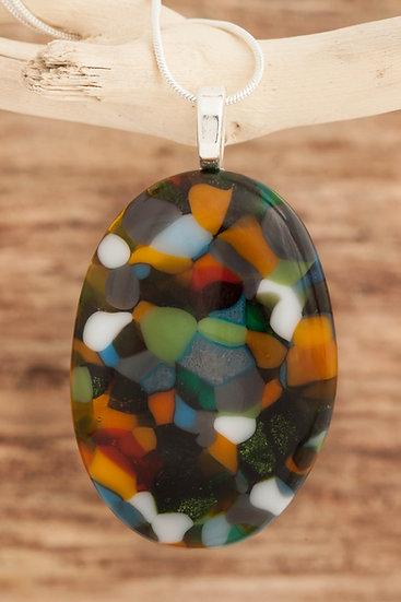 Manx Hunting Tartan Inspired Oval Pendant