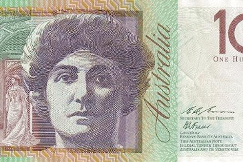 Australian 100 Dollars Polymer Banknote (Dame Nellie Melba) (AUNC)