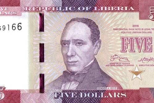 Liberia 5 Dollars Paper Banknote (UNC)