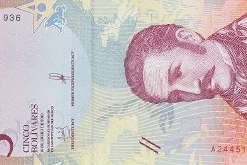 "Venezuela 5 Bolívares 2018-2020 Paper Banknote ""Bolívar Soberano"" Issue"