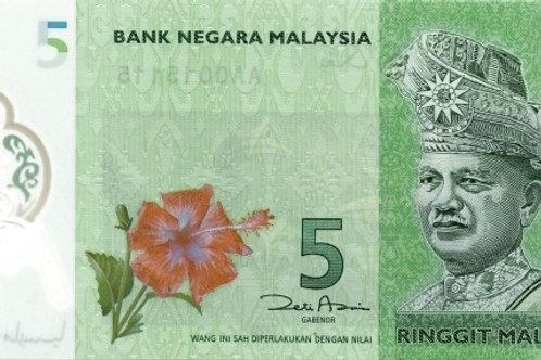 Malaysia 5 Ringgit Polymer Banknote (AUNC)