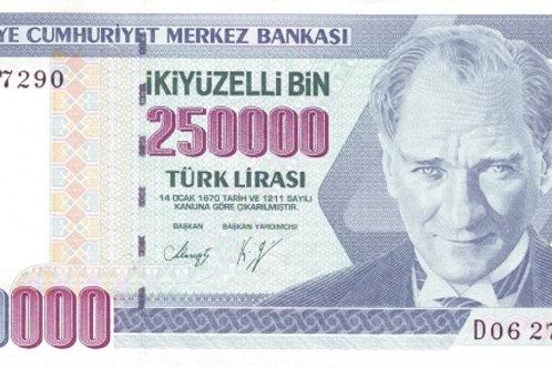 Turkey 250000 Lira Hyperinflation Paper Banknote (UNC)