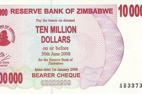 Zimbabwe 10 Million Dollars Paper Banknote (Used, Good Condition)