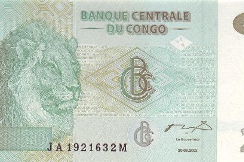 Congo 20 Franc Paper Banknote (UNC)
