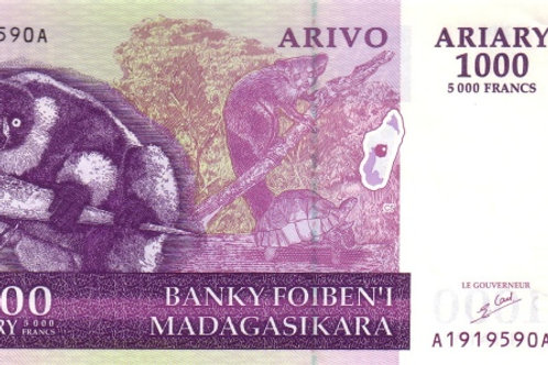 Madagascar 1000 Ariary Old Issue Paper Banknote (UNC)