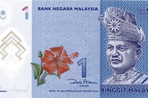 Malaysia 1 Ringgit Polymer Banknote (AUNC)