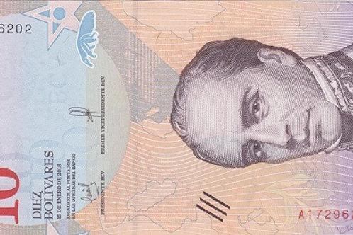 "Venezuela 10 Bolívares 2018-2020 Paper Banknote ""Bolívar Soberano"" Issue"