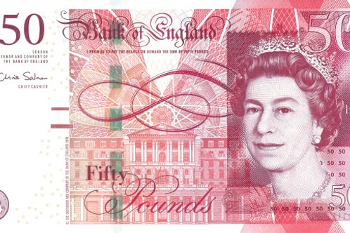 England 50 Pound Paper Banknote (Used)