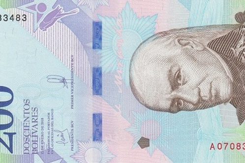 "Venezuela 200 Bolívares 2018-2020 Paper Banknote ""Bolívar Soberano"" Issue"