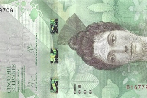 "Venezuela 5000 Bolívares 2007-2017 Paper Banknote ""Bolívar Fuerte"" Issue"