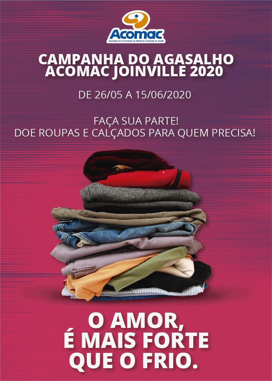 Arte da campanha da Acomac de Joinville (SC) utilizada nas redes sociais da entidade, bem como em postos de arrecadação sob forma de cartazes.