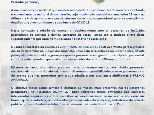 Superintendente comunica ao mercado o adiamento do Prêmio Anamaco 2020