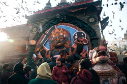 The residents pray in front of the extravagant Kal Bhairav Temple