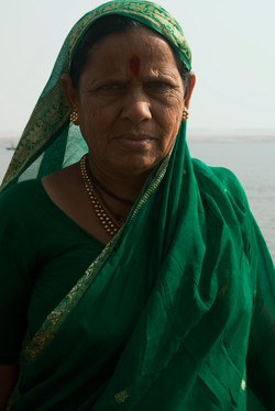 A portrait of Hindu devotee after bathing at the Ganges River