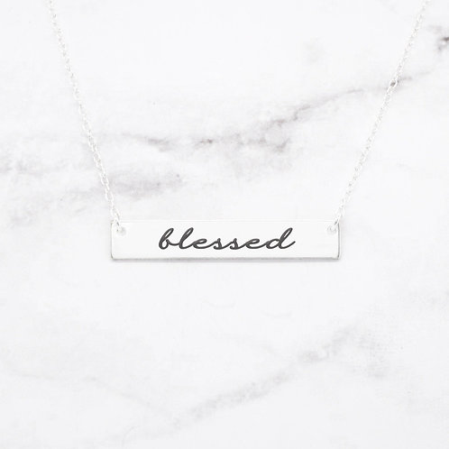 Blessed Necklace - Sterling Silver Bar Necklace