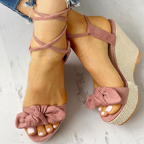 Casual Platform Fashion Sweet Bow Summer Ankle-Wrap Women Shoes Woman Sandals