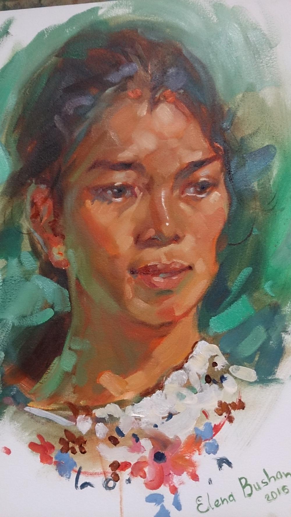 Trina Go Listanco, Oil painting by Elena Bushan