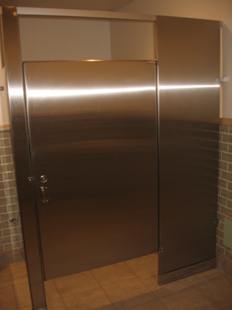 Stainless restroom partitions