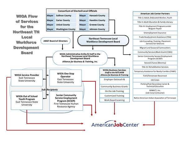 WIOA Flow of Services and list of contra