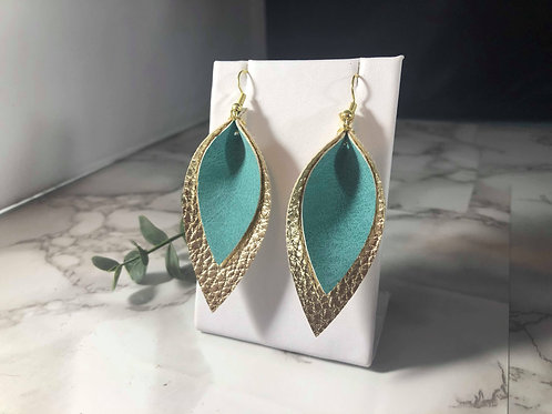 Turquoise and Gold Faux Leather Earrings