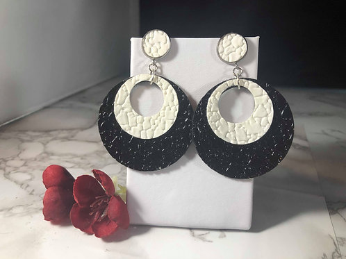 Mod Black and White Textured Faux Leather Circle Earrings