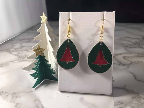 Dark Green and Red Faux Leather Earrings