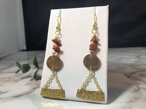 Brown Genuine Leather Earrings with Gold Metal and Gold Stone